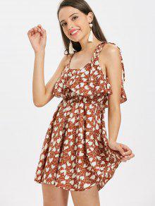8bdd279b199 28% OFF  2019 Heart Print Tie Strap Ruffle Mini Dress In CHESTNUT ...