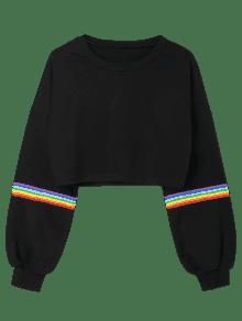 Negro Sudadera M Capucha Stripes Con Rainbow RIIwSr