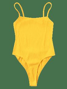 Amarillo Espalda Body De Sin Corte M Alto IgXxAO