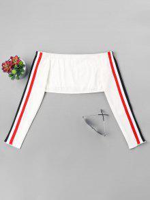 L Sin Hombro Con Mangas El En Blanco Camiseta Rayas BHRqxwRp