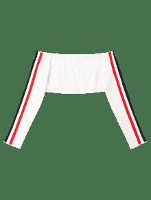 En Hombro L Mangas El Blanco Rayas Camiseta Con Sin xBInqO7