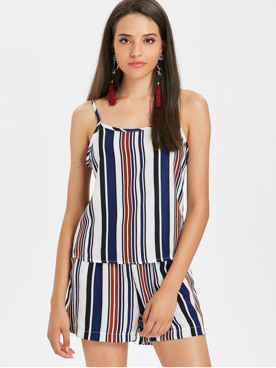 women Striped Casual Shorts Set - DEEP BLUE L