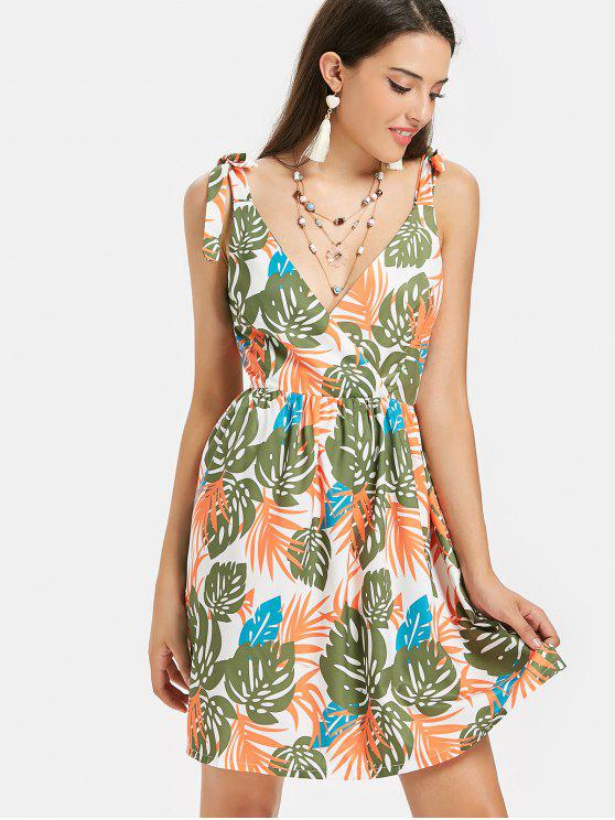 Tropical Print Crossover Midi Sundress - Multicolor S