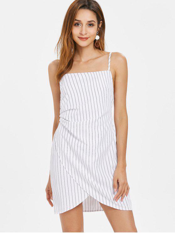 Überlappung Streifen Cami Kleid - Weiß M