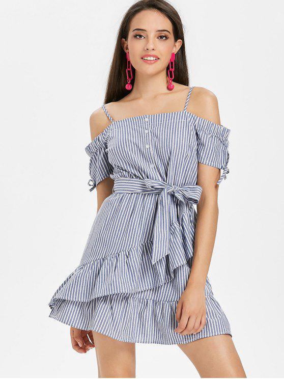 hot Ruffled Cold Shoulder Striped Mini Dress - BLUE GRAY M