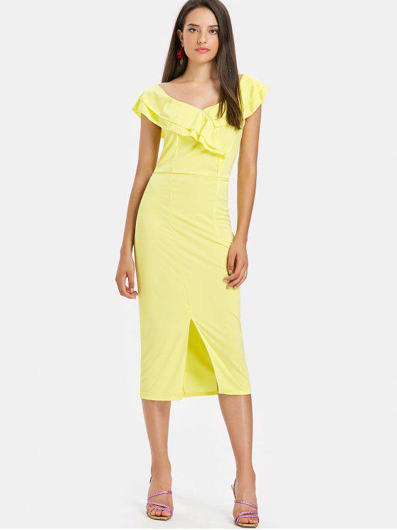 Fenda Ruffles Midi Vestido - Amarelo S