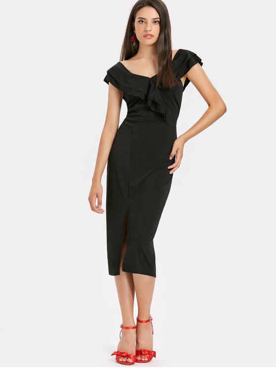 fashion Slit Ruffles Midi Dress - BLACK L