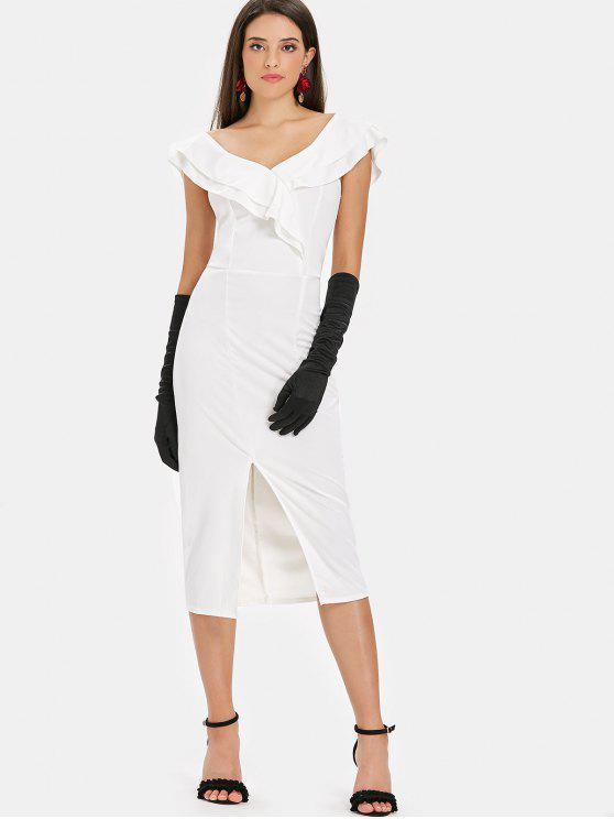 Schlitz Rüschen Midi Kleid - Weiß S
