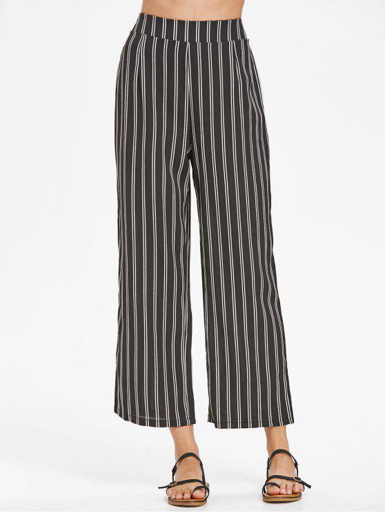 Pantalones de rayas de talle alto - Negro L