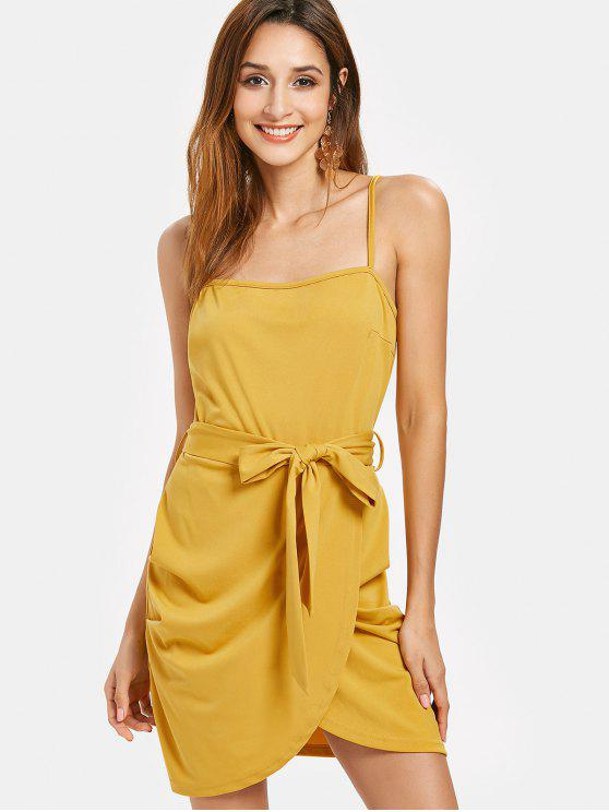 outfits Belted Cami Dress - BRIGHT YELLOW L