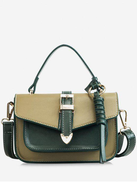 women's Color Block Flapped Chic Buckled Crossbody Bag with Handle - MEDIUM SEA GREEN