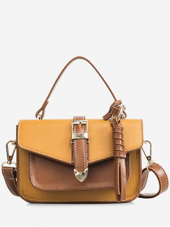 outfits Color Block Flapped Chic Buckled Crossbody Bag with Handle - BROWN