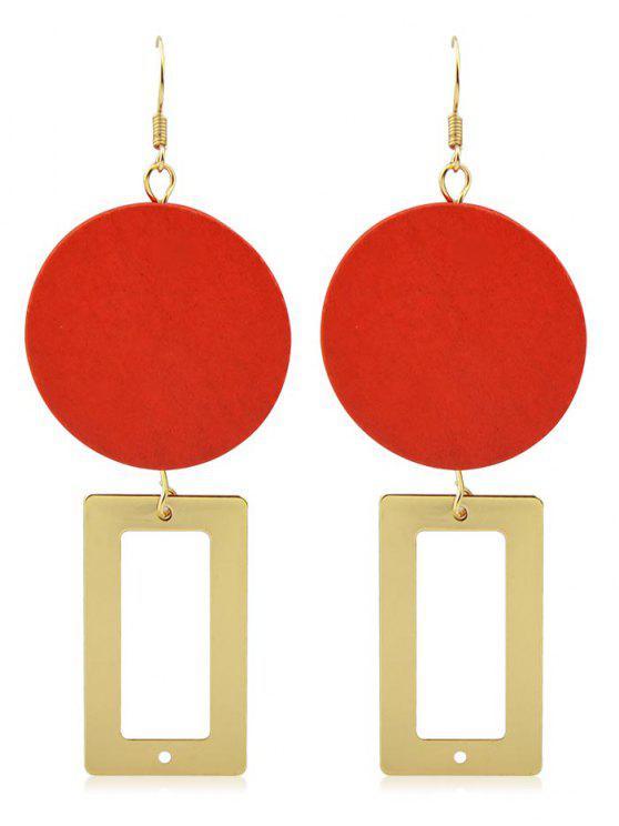 Einzigartige geometrische Form Design Haken Ohrringe - Gold