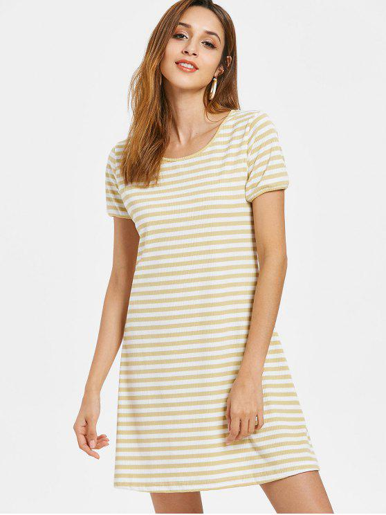 hot Two Tone Stripes Ribbed Dress - CORN YELLOW S