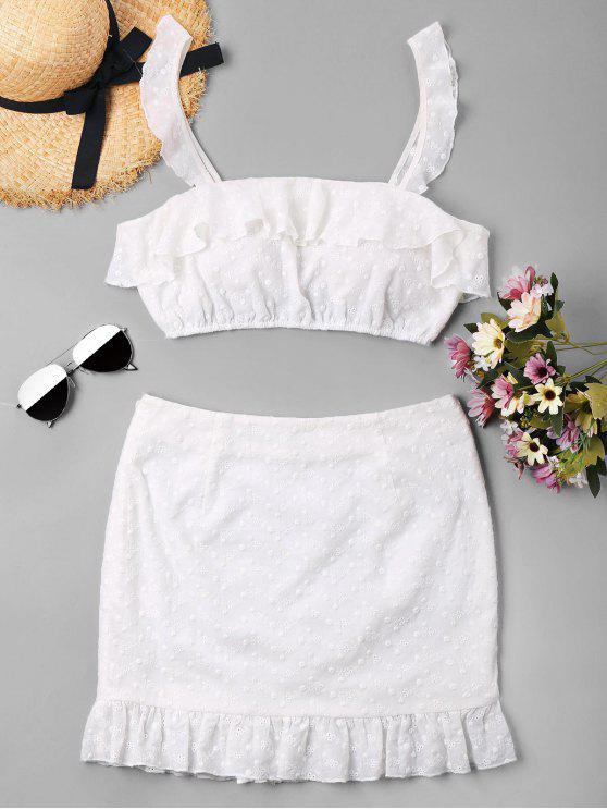 Ensemble de Haut Nombril Exposé Plissé et de Mini Jupe - Blanc XL