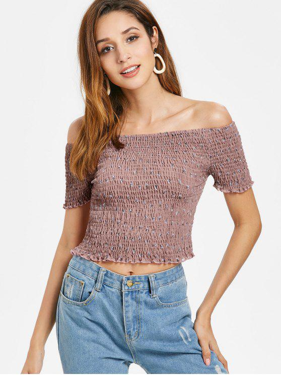02ffed39493 14% OFF] 2019 Smocked Off Shoulder Top In LIPSTICK PINK | ZAFUL