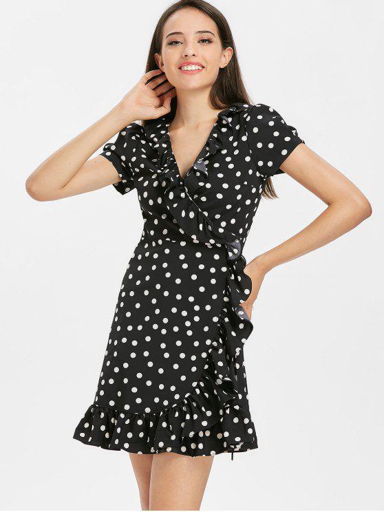 lady Printed Ruffles Wrap Dress - BLACK M