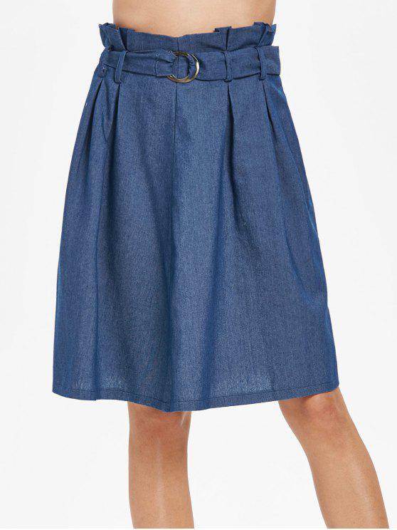 Saia com cinto de cintura alta - Azul Denim M