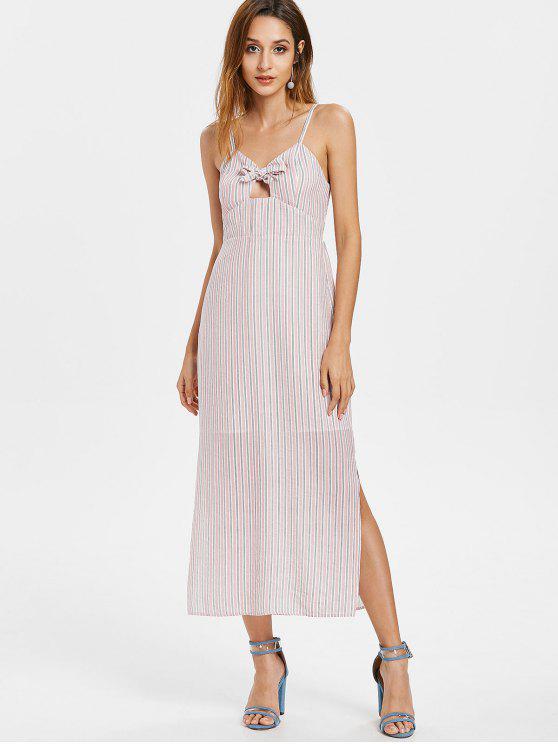women Stripes Knotted Slit Dress - LIGHT PINK L