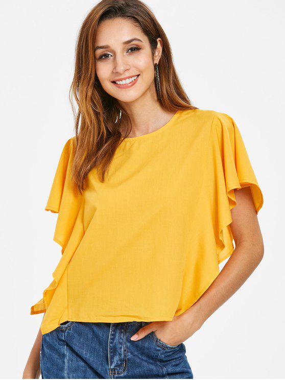 trendy Ruffled Knotted Top - BRIGHT YELLOW S