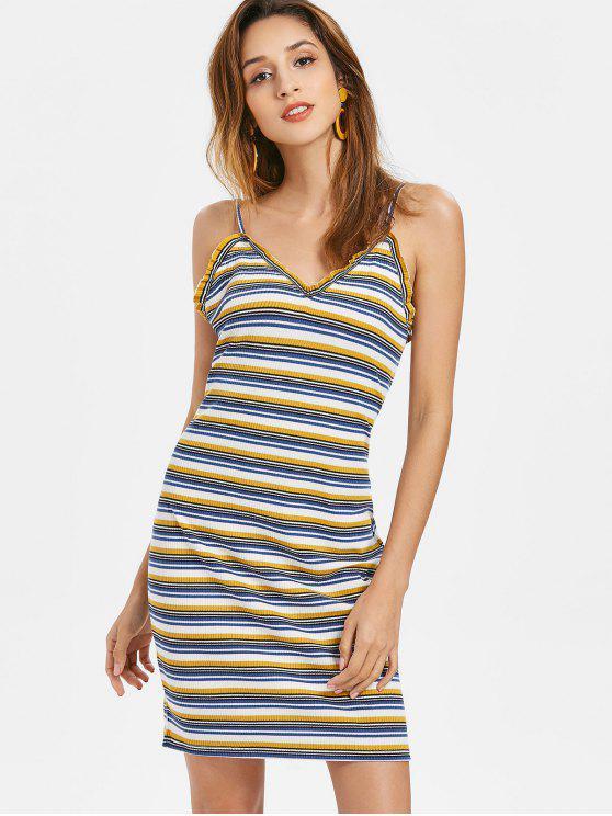 Mini vestido de listras com nervuras - Multi M