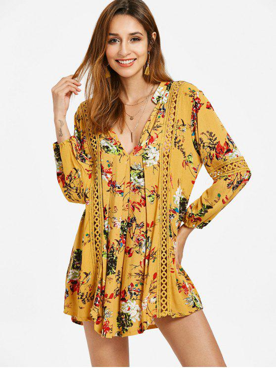 unique Long Sleeve Floral Crochet Trim Babydoll Dress - MUSTARD XL
