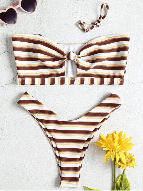 Hohes Bein Knoten Gestreifter Bandeau Bikini Set - Multi M