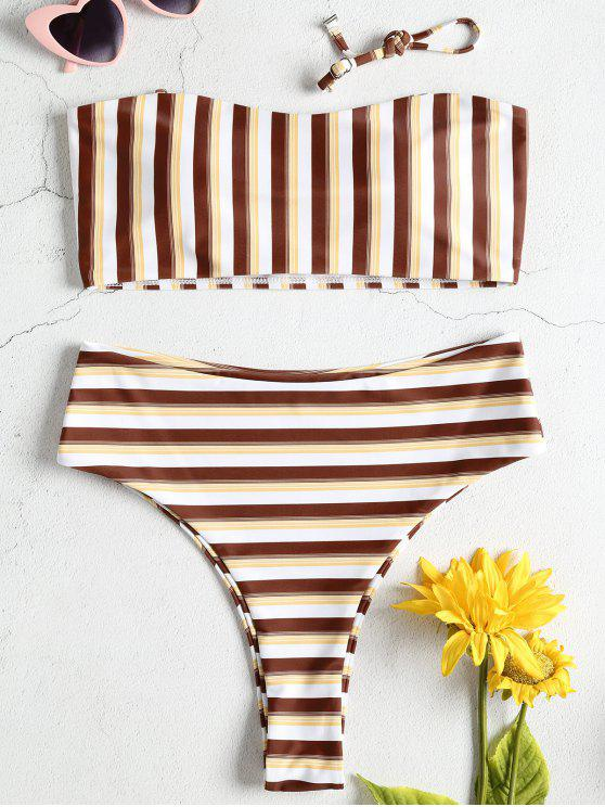 affordable Striped Bandeau High Waisted Bikini Set - MULTI S