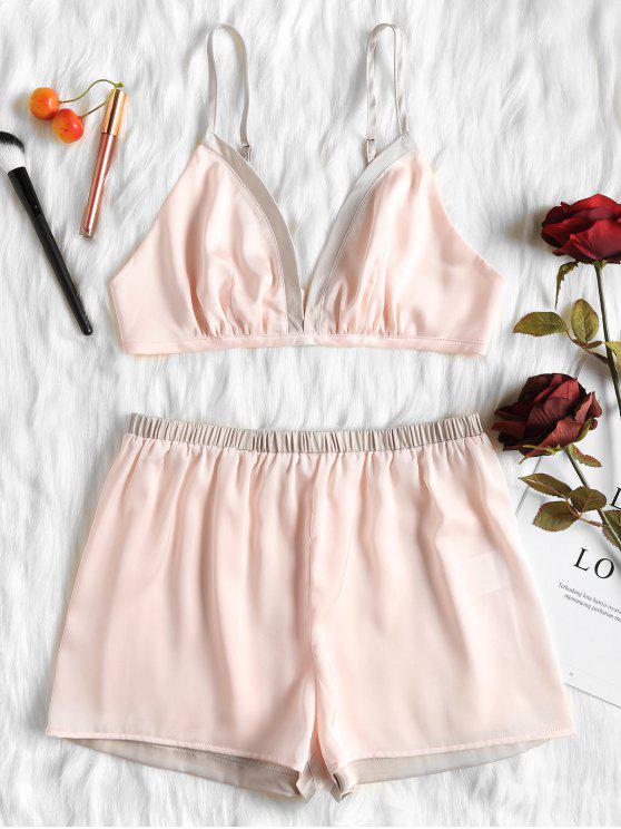 fashion Satin Bralette and Shorts Lingerie Pajama Set - PINK L