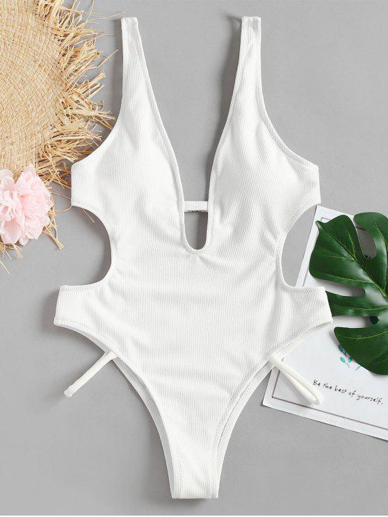 Swimsuit de corte alto sem encosto - Branco L