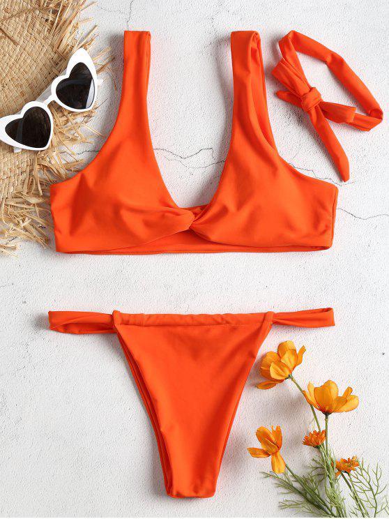 lady Twist Front Padded Bikini Set - ORANGE L