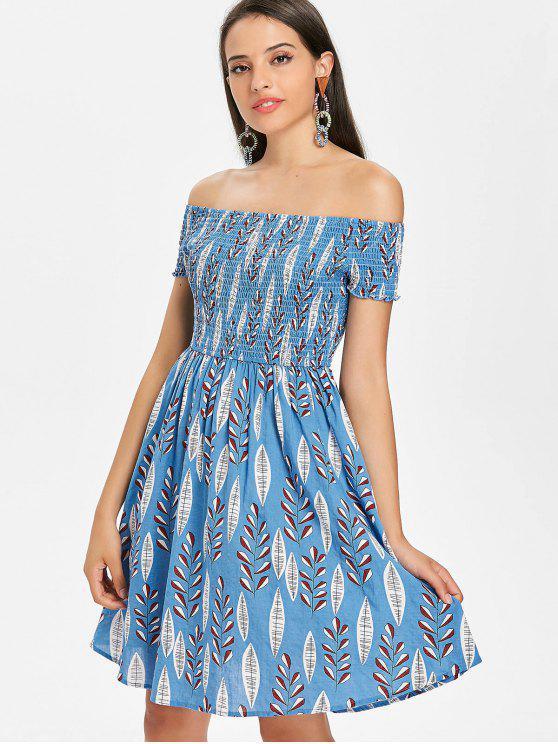 Blätter Druck Schulterfreies Kleid - Blau M