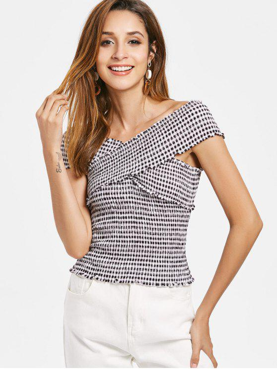 Crossover Gingham Smocked Top - Schwarz L