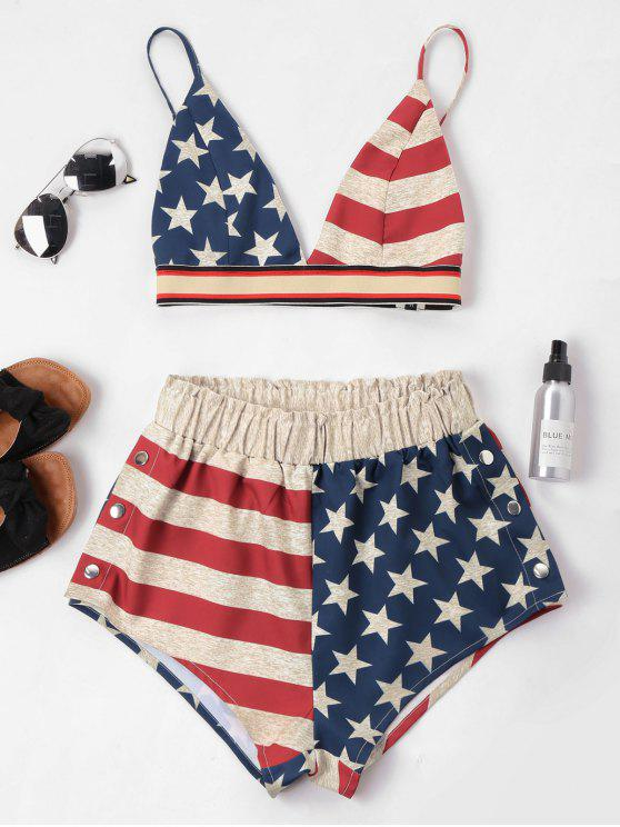 outfits American Flag Cami Shorts Set - MULTI-A XL