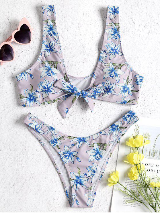 Conjunto de bikini con tanque floral - Vinca S