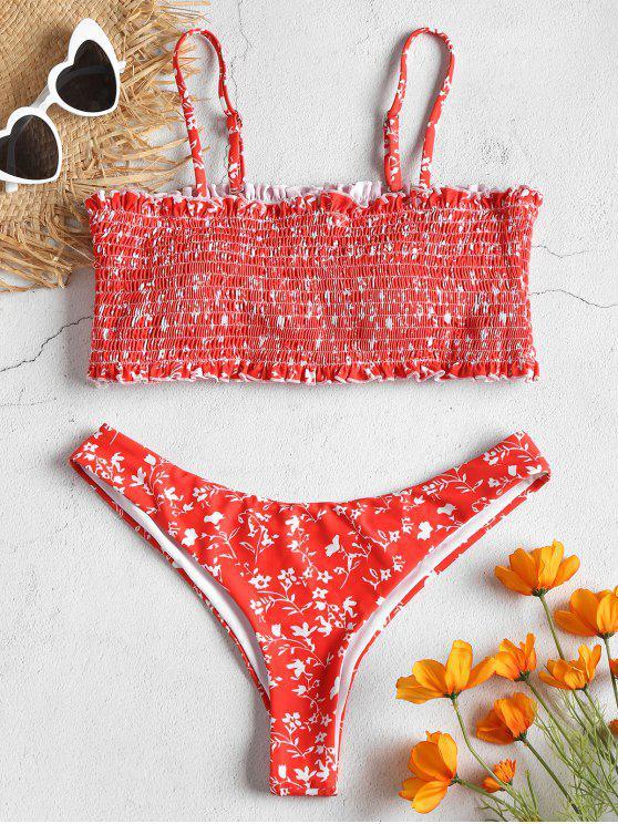 Smocked Winzige Blumen Rüschen Saum Bikini Set - Feuerwehrauto Rot L
