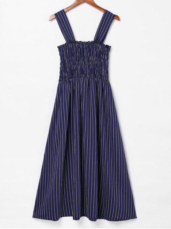fashion Smocked Striped Sleeveless Dress - NAVY BLUE L