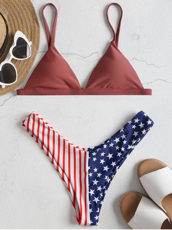 Bikini Con Stampa Bandiera Americana - Rose Finch S