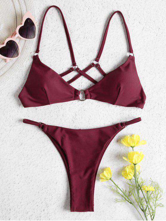 hot O-ring Strappy Bralette Bikini Set - FIREBRICK M