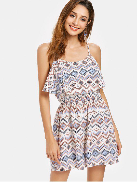 outfits Geometric Print Cami Romper - MULTI S