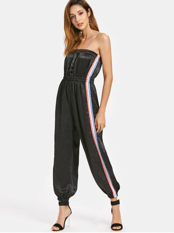latest Stripes Patched Strapless Jumpsuit - BLACK L