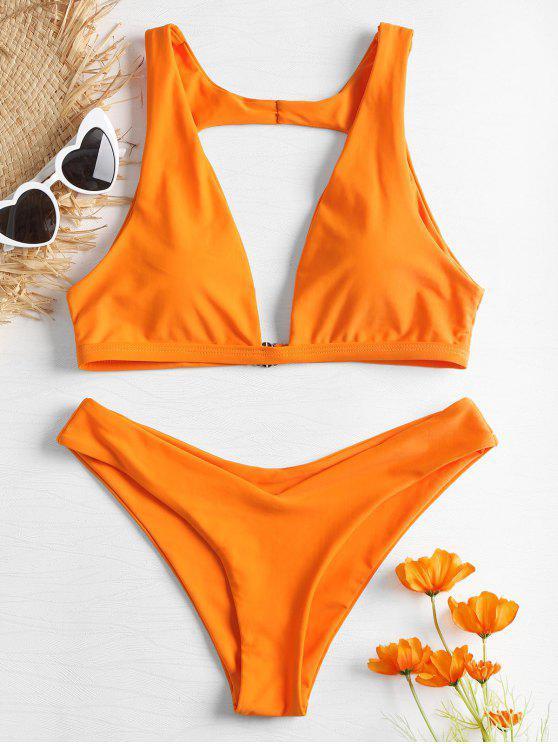 Ensemble Bikini Coquin avec Décolleté en V - Orange S