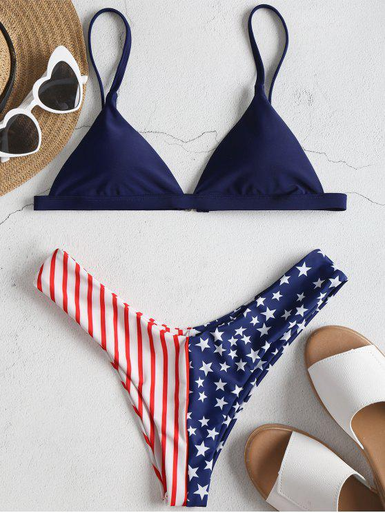 Conjunto de biquíni de bandeira americana - Azul Escuro L