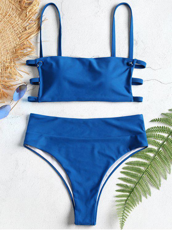 Conjunto de bikini Strappy Lattice de talle alto - Ojos Azules L