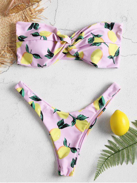 الليمون طباعة عالية قص بيكيني مجموعة - شعر البنات M