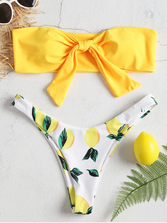 BOWKNOT الليمون طباعة العصابة بيكيني مجموعة - أصفر فاقع L