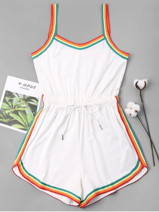 womens Rainbow Trim Drawstring Cami Romper - WHITE XL
