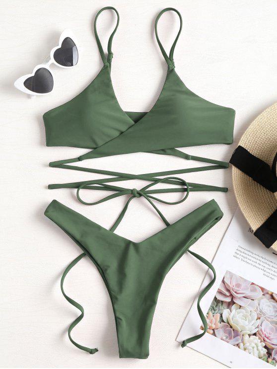 Bikini Avvolgente Con Cinturino - verde  L