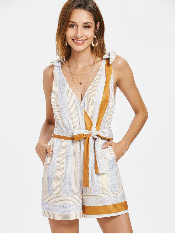 outfit Low Cut Stripes Belted Romper - MULTI M