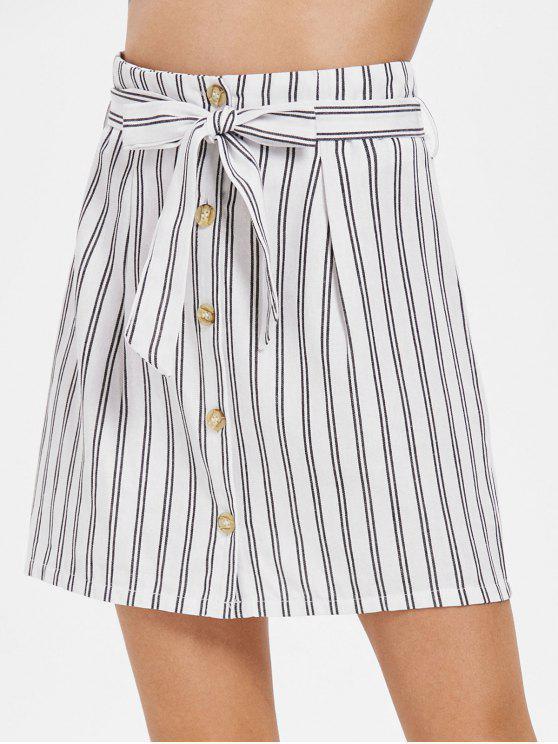 Falda con cinturón a rayas con botones - Blanco M